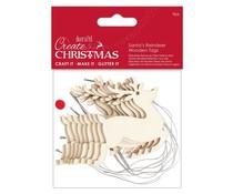 Papermania Create Christmas Wooden Tags Santa's Reindeer (9pcs) (PMA 359931)