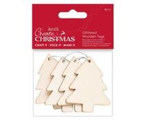 Papermania Create Christmas Glittered Wooden Tags Tree (4pcs) (PMA 359924)