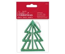Papermania Create Christmas Glittered Wooden Tags Tree (3pcs) (PMA 359926)