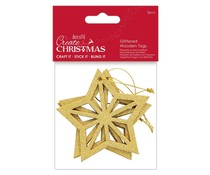 Papermania Create Christmas Glittered Wooden Tags Star (3pcs) (PMA 359927)