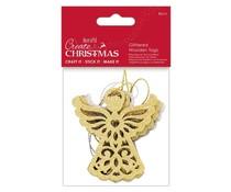 Papermania Create Christmas Glittered Wooden Tags Angel (4pcs) (PMA 359925)