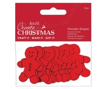Papermania Create Christmas Wooden Shapes Gingerbread Men Red (12pcs) (PMA 174579)