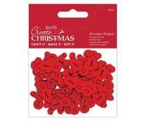 Papermania Create Christmas Wooden Shapes Mini Gingerbread Men Red (30pcs) (PMA 174581)