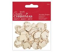 Papermania Create Christmas Wooden Shapes Mini Mittens Natural (30pcs) (PMA 174588)