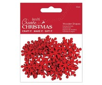 Papermania Create Christmas Wooden Shapes Mini Snowflakes Red (30pcs) (PMA 174577)