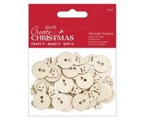 Papermania Create Christmas Wooden Shapes Mini Snowman Natural (30pcs) (PMA 174592)