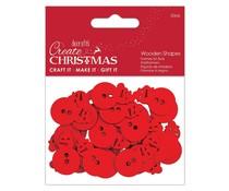 Papermania Create Christmas Wooden Shapes Mini Snowman Red (30pcs) (PMA 174593)