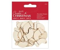 Papermania Create Christmas Wooden Shapes Mini Stockings Natural (30pcs) (PMA 174584)