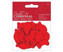 Papermania Create Christmas Wooden Shapes Mini Stockings Red (30pcs) (PMA 174585)