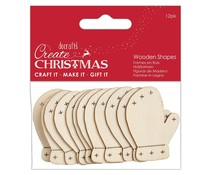 Papermania Create Christmas Wooden Shapes Mittens Natural (12pcs) (PMA 174586)