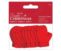 Papermania Create Christmas Wooden Shapes Mittens Red (12pcs) (PMA 174587)
