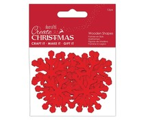 Papermania Create Christmas Wooden Shapes Snowflakes Red (12pcs) (PMA 174575)