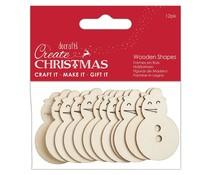 Papermania Create Christmas Wooden Shapes Snowman Natural (12pcs) (PMA 174590)