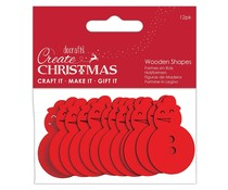 Papermania Create Christmas Wooden Shapes Snowman Red (12pcs) (PMA 174591)