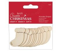 Papermania Create Christmas Wooden Shapes Stockings Natural (12pcs) (PMA 174582)