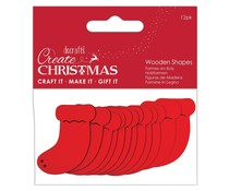 Papermania Create Christmas Wooden Shapes Stockings Red (12pcs) (PMA 174583)