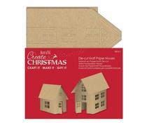 Papermania Create Christmas Die-cut Kraft Paper Houses Brown (6pcs) (PMA 157997)