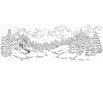 The Crafter's Workshop Snowy Cabin 16½x6 Inch Stencil (TCW2427)