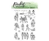 Picket Fence Studios Winter Scene Building People 3x4 Inch Clear Stamps (BB-173)
