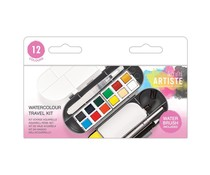 Docrafts Watercolour Travel Kit 12 Colours + Water Brush (DOA 763400)