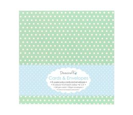 Dovecraft 8 Pastel Polka 6x6 Cards & Envelopes (DCCE008)
