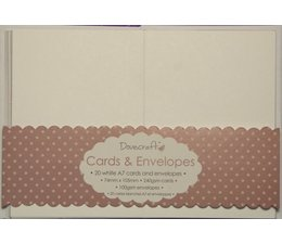Dovecraft 20 Mini White 74mm x 105mm Cards & Envelopes (DCCE032)