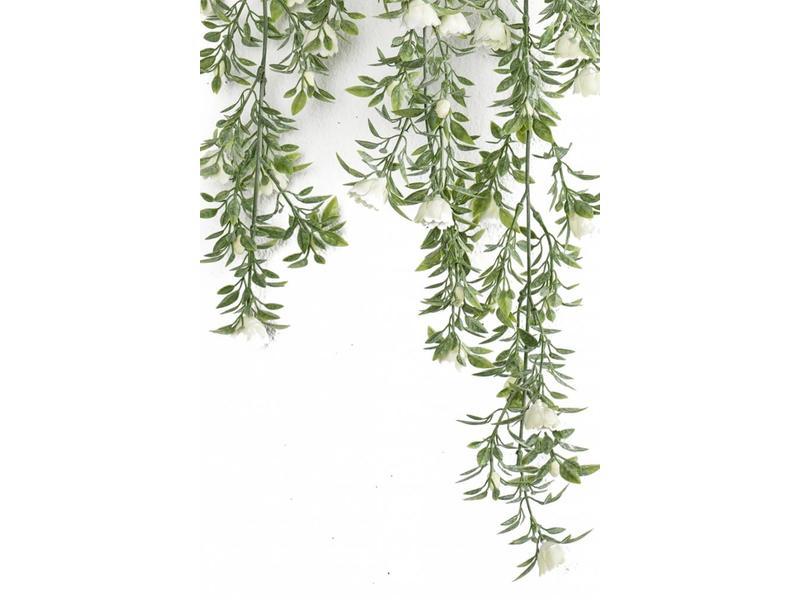 Kunst hangplant witte roos 75 cm