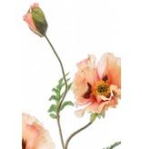 Kunstbloem papaver 90 cm perzik