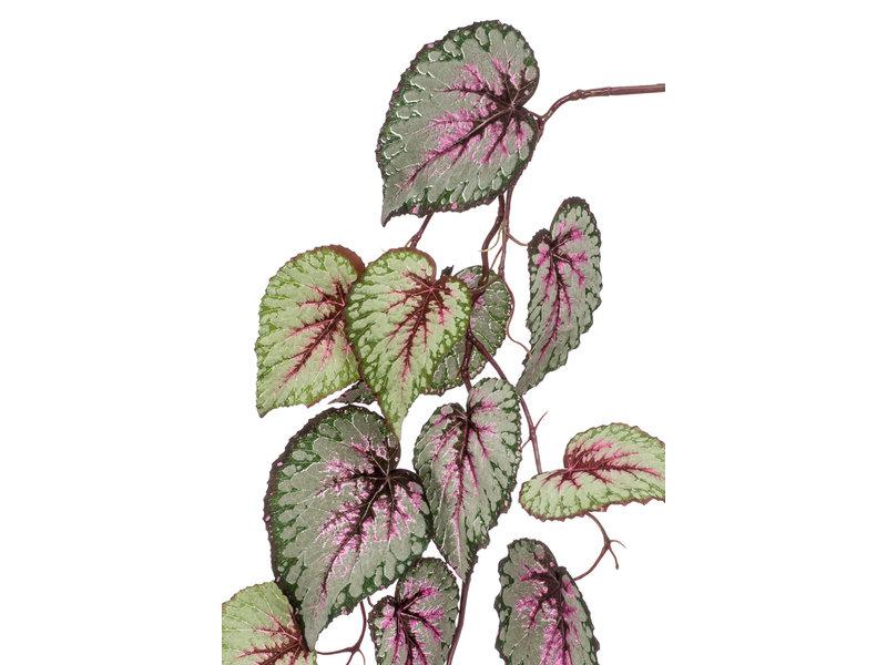 Kunst hangtak Begonia 110 cm grijs/roze