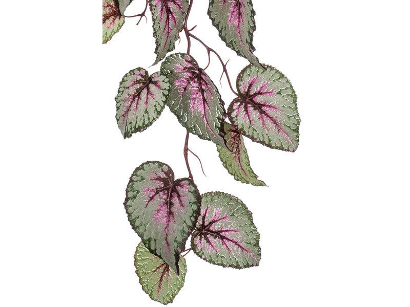 Kunst hangtak Begonia 110cm grijs/roze