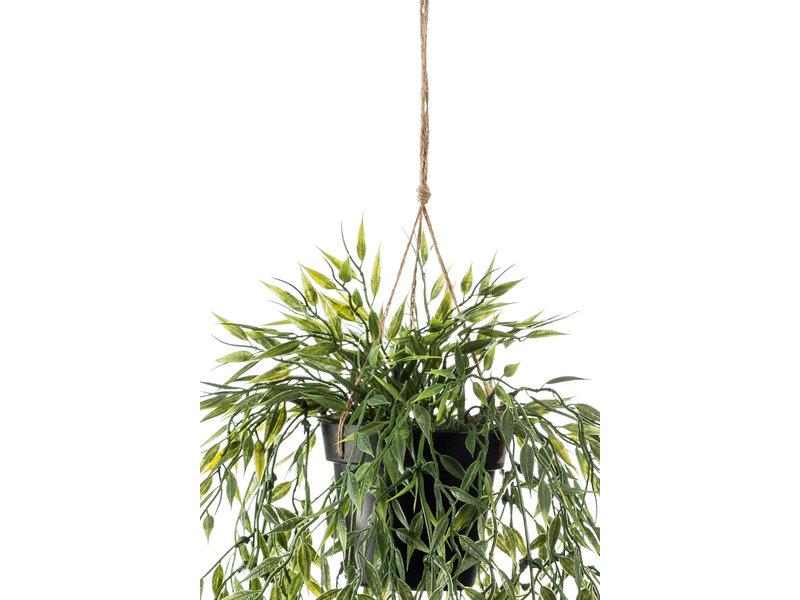 Kunst hangplant bamboe 50 cm in pot