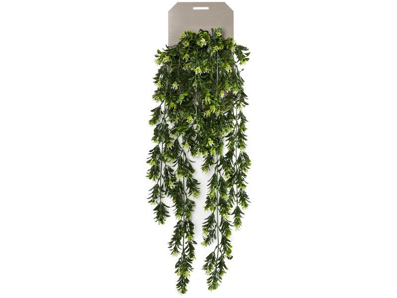 Kunst hangplant Buxus bloemen 75 cm