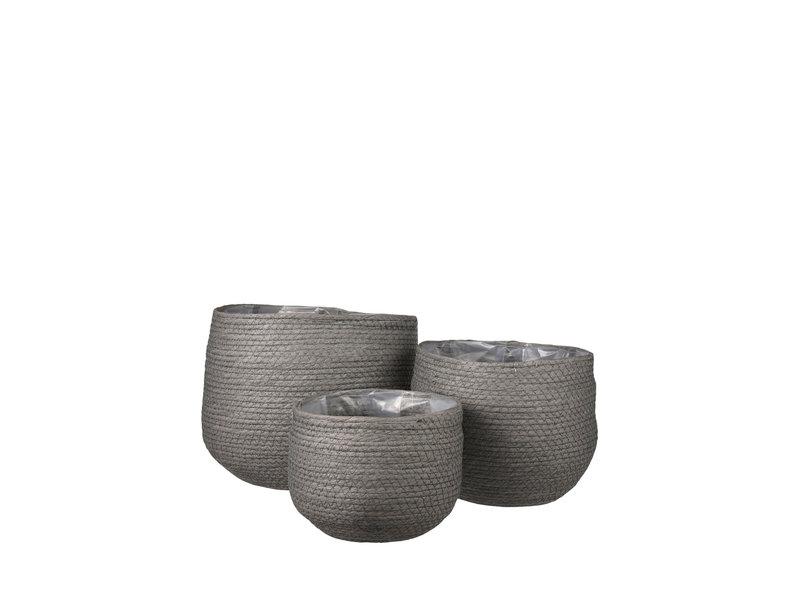 Plantenmand Jorck grijs 3 st