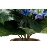 Kunstplant Hortensia 37 cm blauw in pot