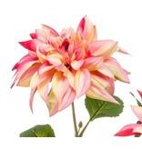 Kunstbloem Dahlia 65 cm roze/geel