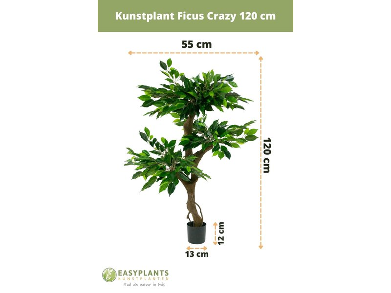 Kunstplant Ficus Crazy 120 cm