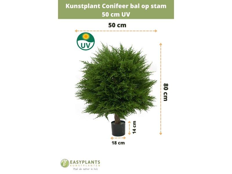 Kunstplant Conifeer bal op  stam 50 cm UV