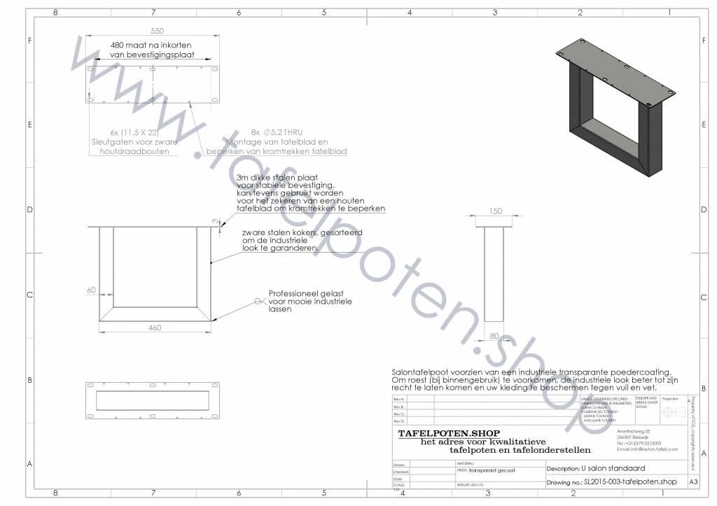 Tafelpoten.shop Stoere industriele salon tafelpoten gemaakt uit kokers 8x6, los verkrijbaar