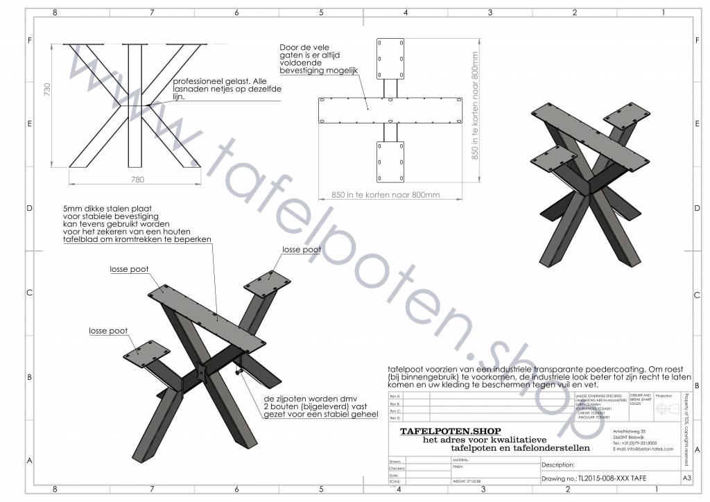 Tafelpoten.shop Industrieel tafelonderstel Dubbele Kruispoot 8x8 tafelpoot