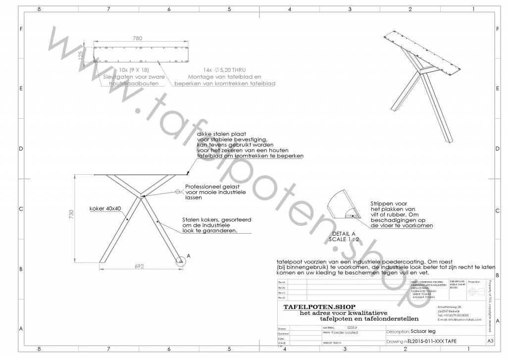 Nordstahl Stalen tafelonderstel scissor kruispoot