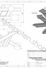 Tafelpoten.shop Losse stalen industriele salon twistpoot 8x8 cm
