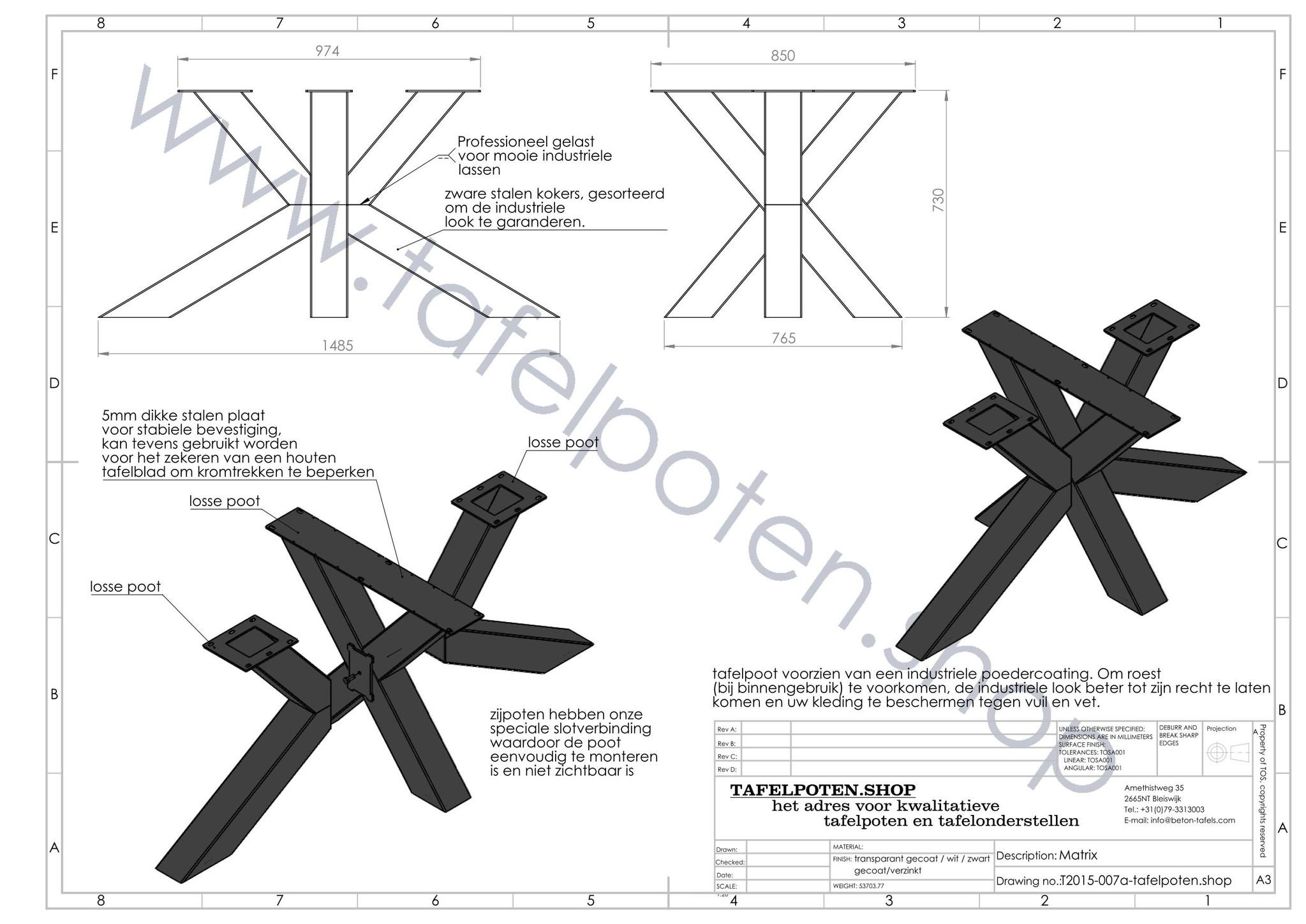 Nordstahl Stalen tafelonderstel Matrix tafelpoot 12x12 cm Nordstahl