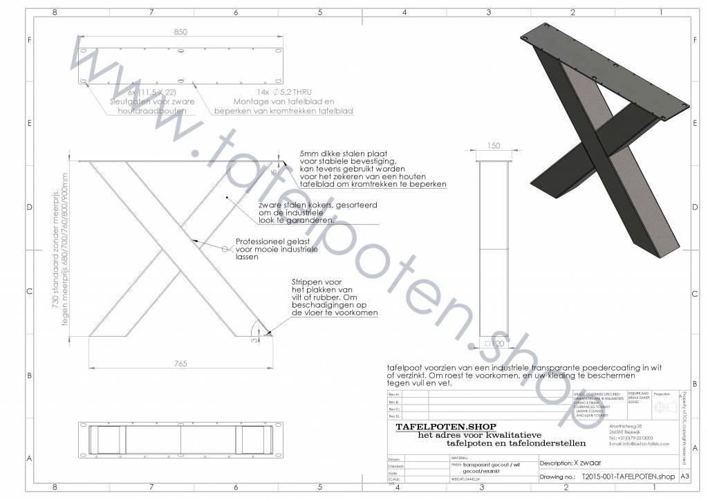 Tafelpoten.shop Verzinkt tafelonderstel X poot Zwaar (kruispoot) - Ideaal voor onder de tuintafel