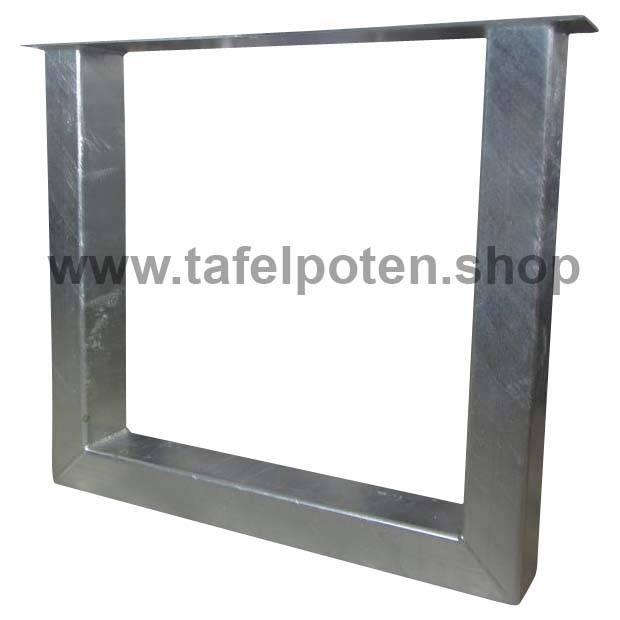 Tafelpoten.shop Verzinkte 12x8 cm rechte U tafelpoten, los verkrijgbaar, ideaal voor een tuintafel