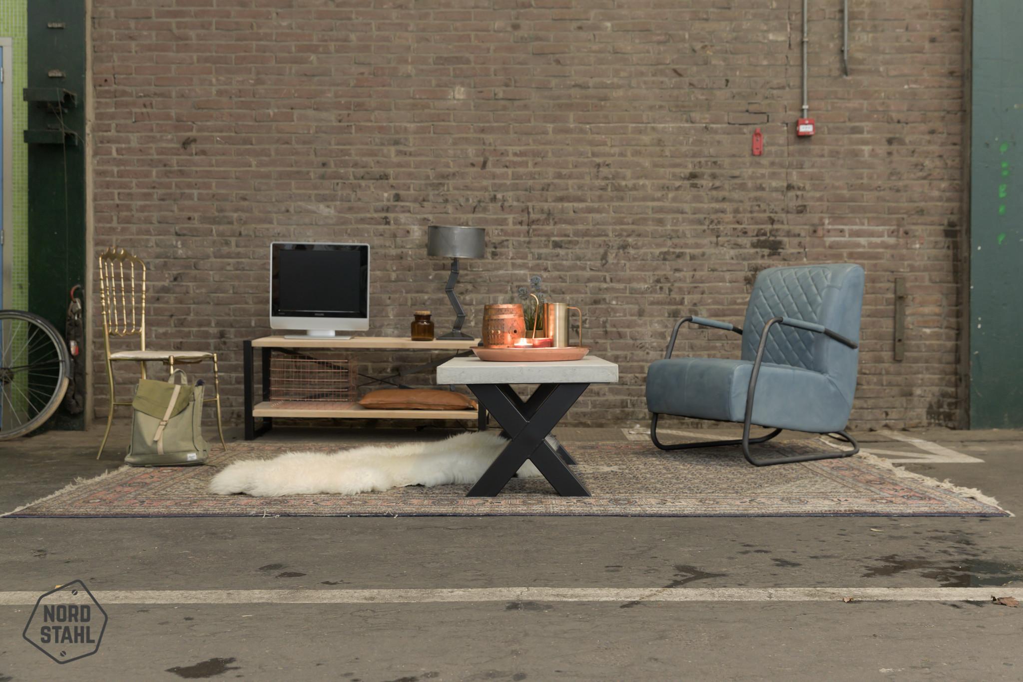 Nordstahl Stoere stalen salon kruispoten gemaakt uit kokers 8x8 cm, los verkrijgbaar
