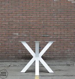Tafelpoten.shop Witte Dubbele Kruispoot 8x8 tafelpoot
