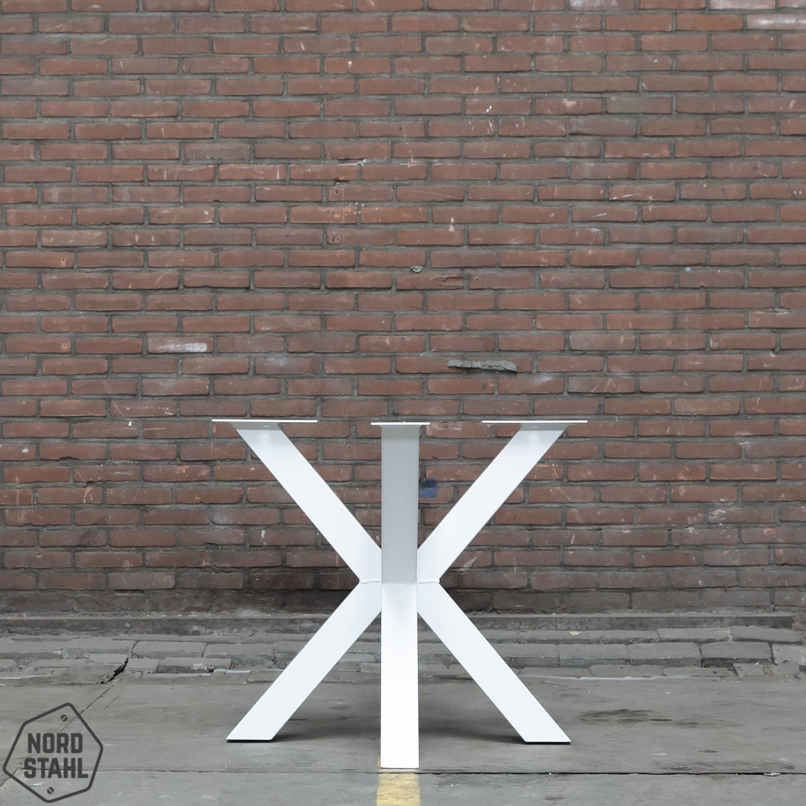 Nordstahl Wit stalen tafelonderstel Dubbele Kruispoot 8x8 tafelpoot