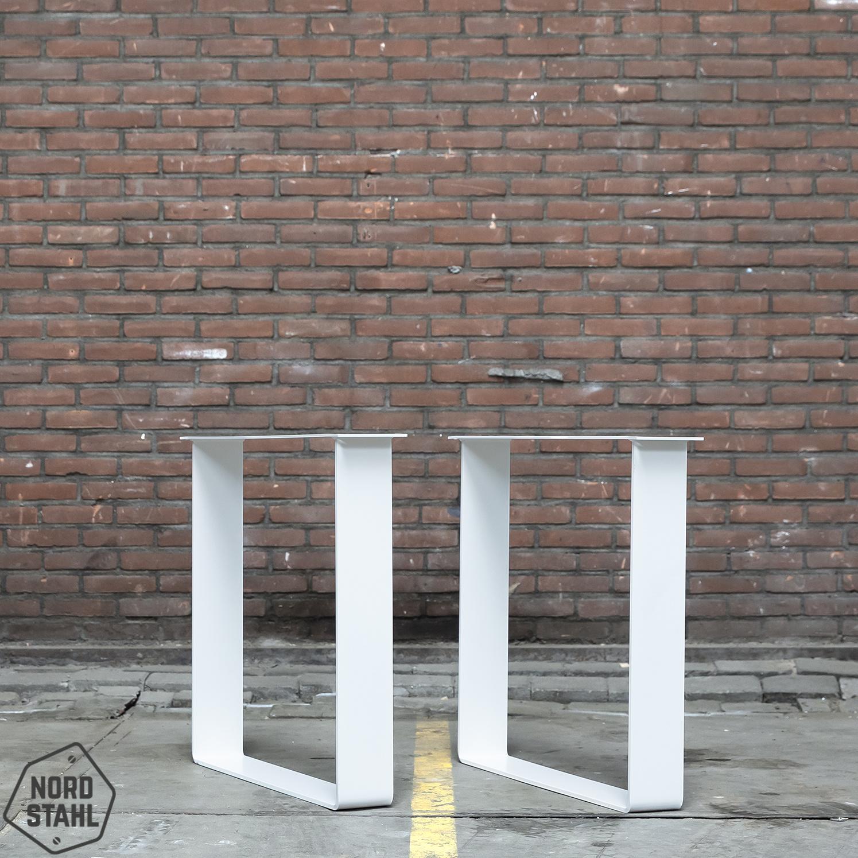 Nordstahl Witte gepoedercaote strip tafelpoten gemaakt uit strip 12x1, los verkrijgbaar
