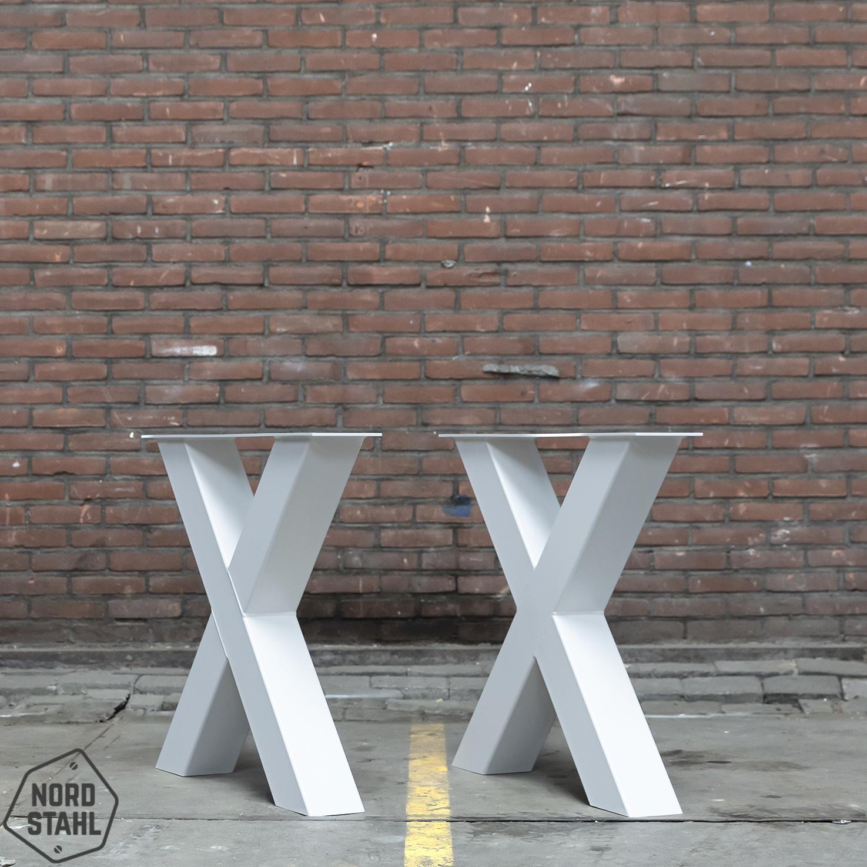Nordstahl Wit gepoedercoat tafelonderstel X poot Zwaar (kruispoot)