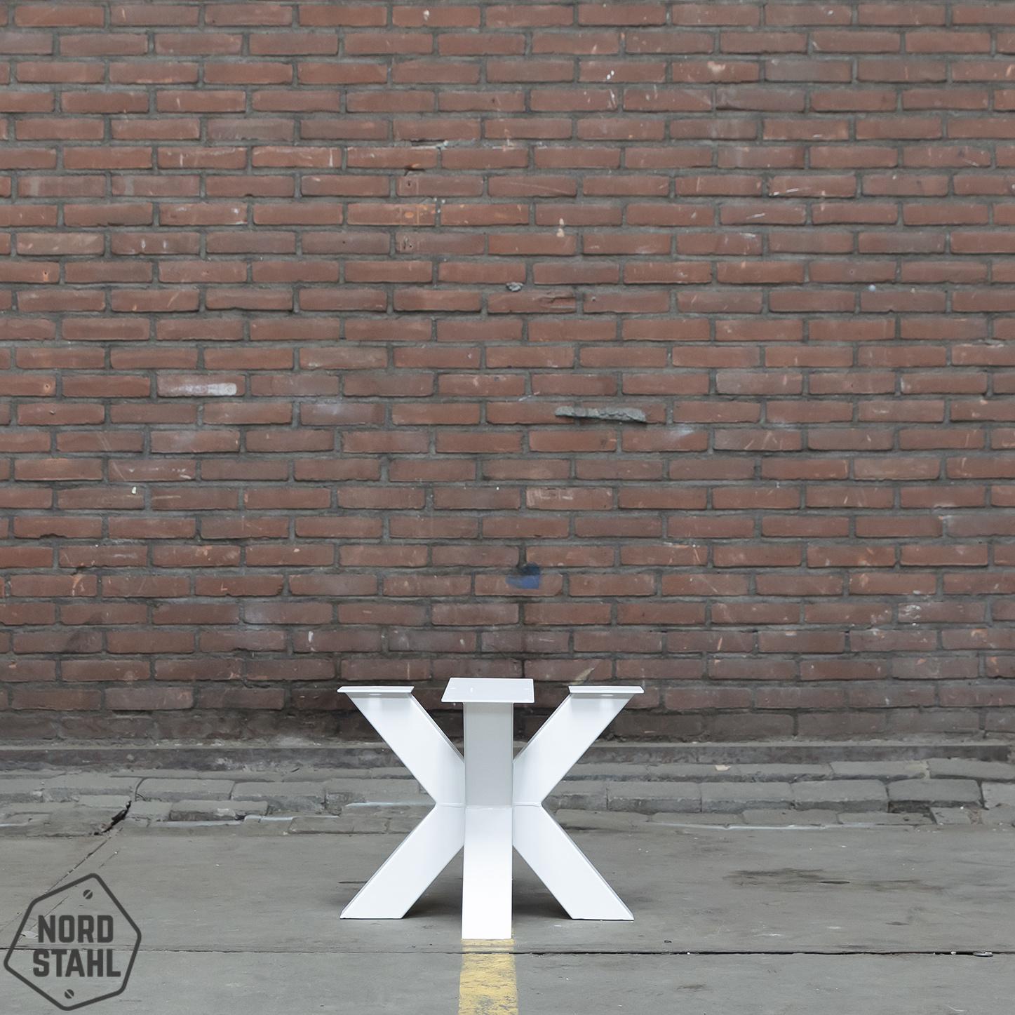 Nordstahl Stoere, stalen salontafelpoot Double X wit  gemaakt uit kokers 8x8 cm, los verkrijgbaar